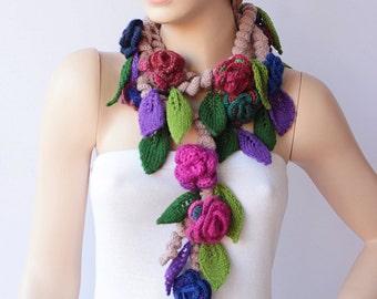 crochet scarf  crochet  lariat ,flower  crochet scarf
