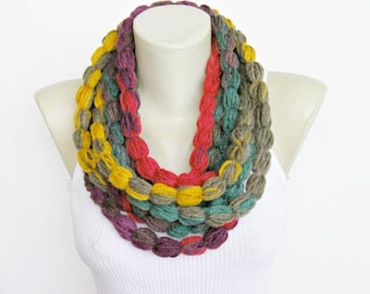 Crochet lariat,scarf, infinity chain scarf,  lariat  scarf,