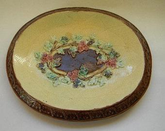 MAJOLICA, Antique Floral Majolica Platter