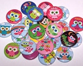 """Cute Colorful Owls Mix Set of 10 Buttons 1"""" Pins or Magnets"""