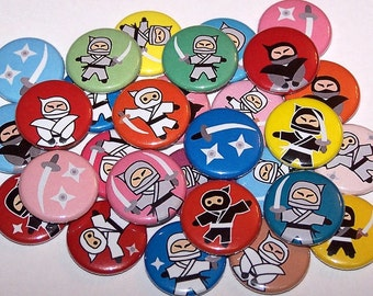 "Colorful Ninjas Set of 10 Buttons 1"" or 1.5"" Pin Back Buttons or 1"" Magnets Ninja Party Favors"