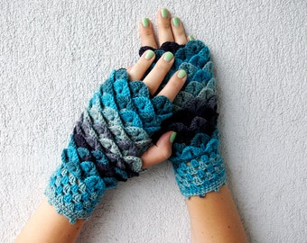 Fingerless Gloves Wrist warmers Colorful Fingerless GlovesSuper Arm Warmers Crochet Fingerless Gloves Womens Knit GlovesTurquoise Grey