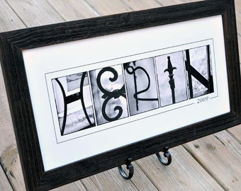 Personalized LAST NAME Wall Decor in B&W Alphabet Photograph, Custom Name Print Unframed