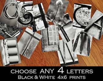 Alphabet Photography 4x6 Black and White Individual Photo Letters  ANY 4 LETTERS