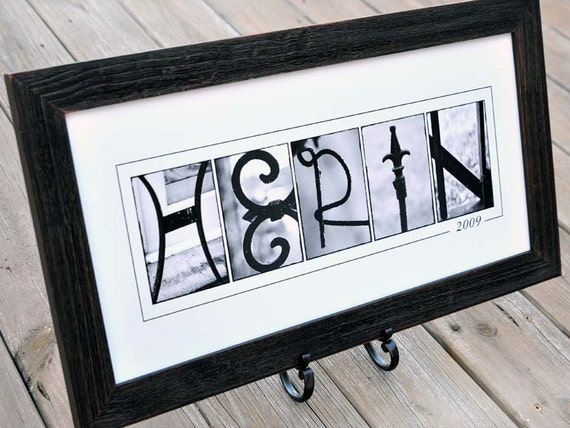 Personalized LAST NAME Wall Decor in B&W by FrittsCreative