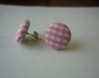 Pink Gingham Fabric Earrings