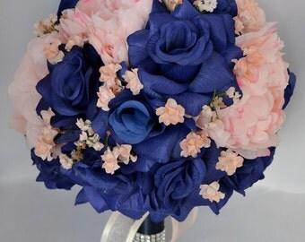 "17 Piece Package Wedding Bridal Bride Maid Bridesmaid Bouquet Boutonniere Corsage Silk Flower NAVY BLUE PEACH ""Lily Of Angeles"" BLPI02"