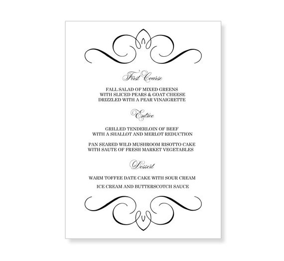 Wedding Menu Template Printable Instant Download For By 43lucy