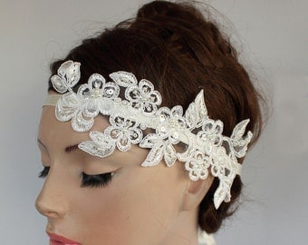 Bridal Fascinator, Weddings Headband Classic White Floral Applique Lace, Romantic Weddings