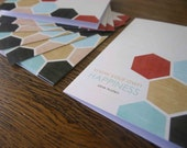 Jane Austen Card - Know Your Own Happiness - Geometric Honeycomb Pattern - Birthday Greeting Card for Friend Inspirational