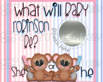 Gender Reveal scratch off cards monkey Baby Pregnancy announcement cards Gender reveal party Baby boy Baby girl scratchers 12 Precut Printed