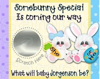 Easter Gender Reveal scratch off cards Pregnancy announcement card gender announcement cards Easter Bunny Baby Baby boy Baby girl 12 Precut