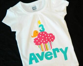 Birthday shirt hot pink polka dot cupcake, orange bird, birthday number candle applique personalized name