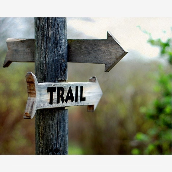 Landscape Photo, wooden hiking trail marker, sign, Trail Sign Photo, path, nature lover, outdoors, outdoorsman, for him, man cave, nature