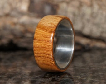 Olive wood and sterling silver ring - Wood Ring Size 8