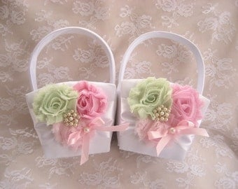 Two Flower Girl Baskets, Pink and Green Blossoms on white, Flower Girl Basket Vintage CUSTOM COLORS  too Wedding Pillow