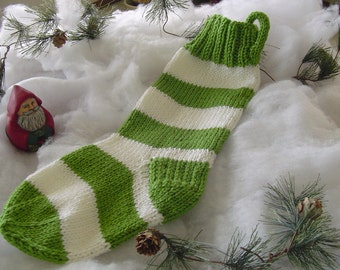 CHRISTMAS STOCKING, Christmas Present, Wide Stripes Christmas Stocking, Hand Knit Christmas Stocking, Hand Made Stocking, Special Yarn