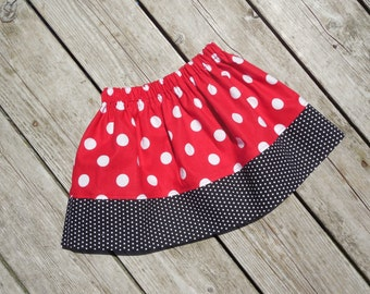 Girl's Toddlers Red and White Polka Dot Skirt