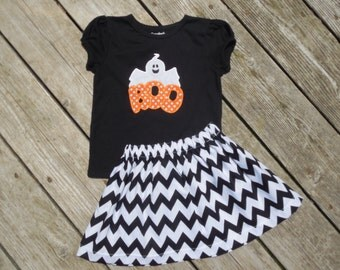 Girl's Toddlers Skirt and Shirt Halloween Outfit - Black Chevron Skirt with Cute Ghost Applique Shirt