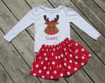 Girl's Toddlers Skirt and Shirt Christmas Outfit - Red Polka Dot Skirt with Reindeer Applique Shirt