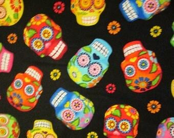 Sugar Skulls Day of The Dead Black Cotton Fabric Fat Quarter or Custom Listing