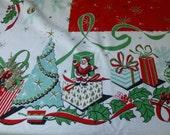Vintage Christmas tablecloth Aqua Tree Gold garland snowflakes Shiny Brite style ornaments Metallic hi-lights