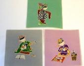 Set of 3 Vintage Japanese Hand Printed Fabric Squares Hand Painted Geisha Cats Kittens Dancing Playing Shamisen Preparing Food
