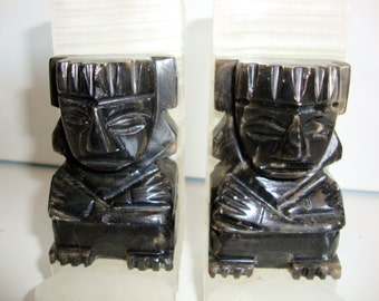 Bookends, Vintage Marble Bookends, Aztec Tiki Design, Marble Bookends, Tiki Bookends, Black and White Book Ends