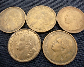 Vintage French Coin, Lot of 5 Coins, France  20 francs, 1950s 5 coins