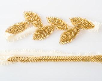 Leaf bridal garter set | gold wedding garter set boho chic