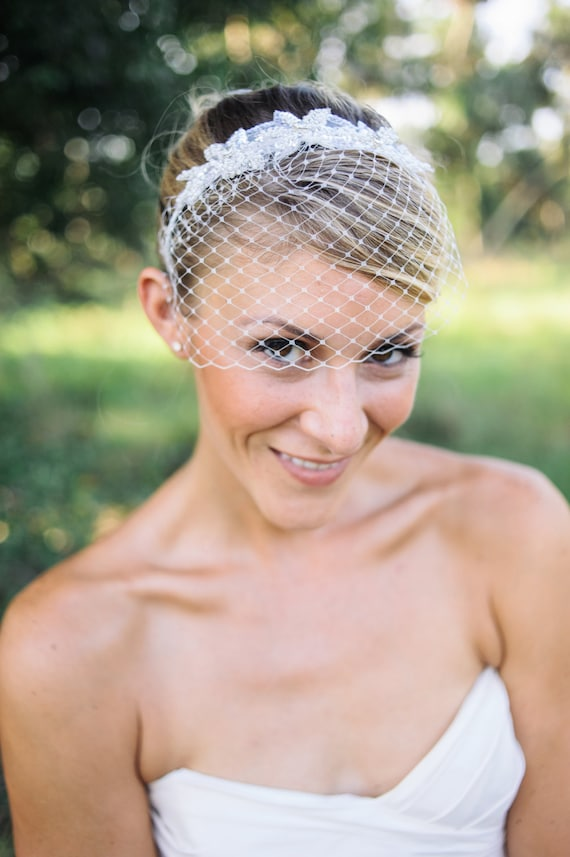 Wedding Veils Birdcage Veil Headband With Beaded Applique