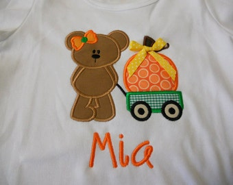 Pumpkin Teddy Bear Custom boutique appliqued monogrammed personalized, boys, girls, t shirt, one piece w/snaps, halloween, fall