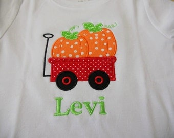 Pumpkin Wagon Custom boutique appliqued monogrammed personalized, boys, girls, t shirt, one piece w/snaps, halloween, fall