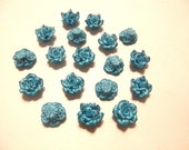 20 Fimo Polymer Clay Light Blue White Flower Fimo Beads 15mm