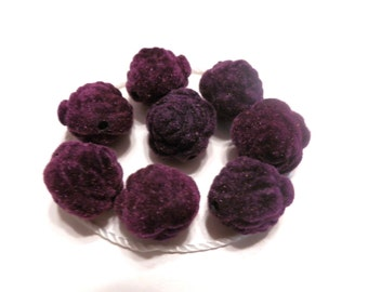 New 6 Velvet Purple Roses Flowers Beads 16mm