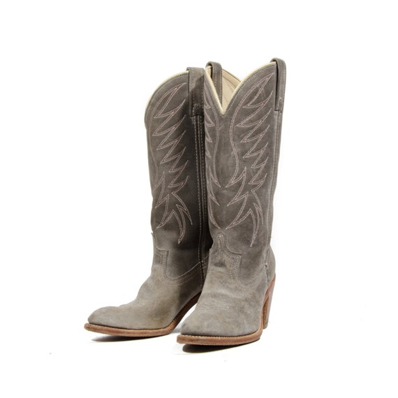 s acme stacked heel cowboy boots gray suede western