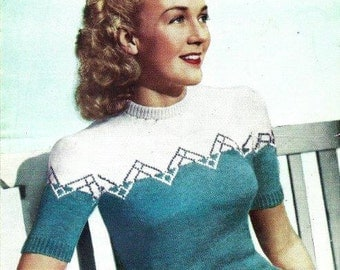 PDF Knitting Pattern for a 1940's Retro Two Coloured Jumper & Cardigan - Instant Download