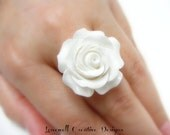 30mm Big Bold Detailed Resin Rose Adjustable Silver Ring Your Choice White or Red Colors