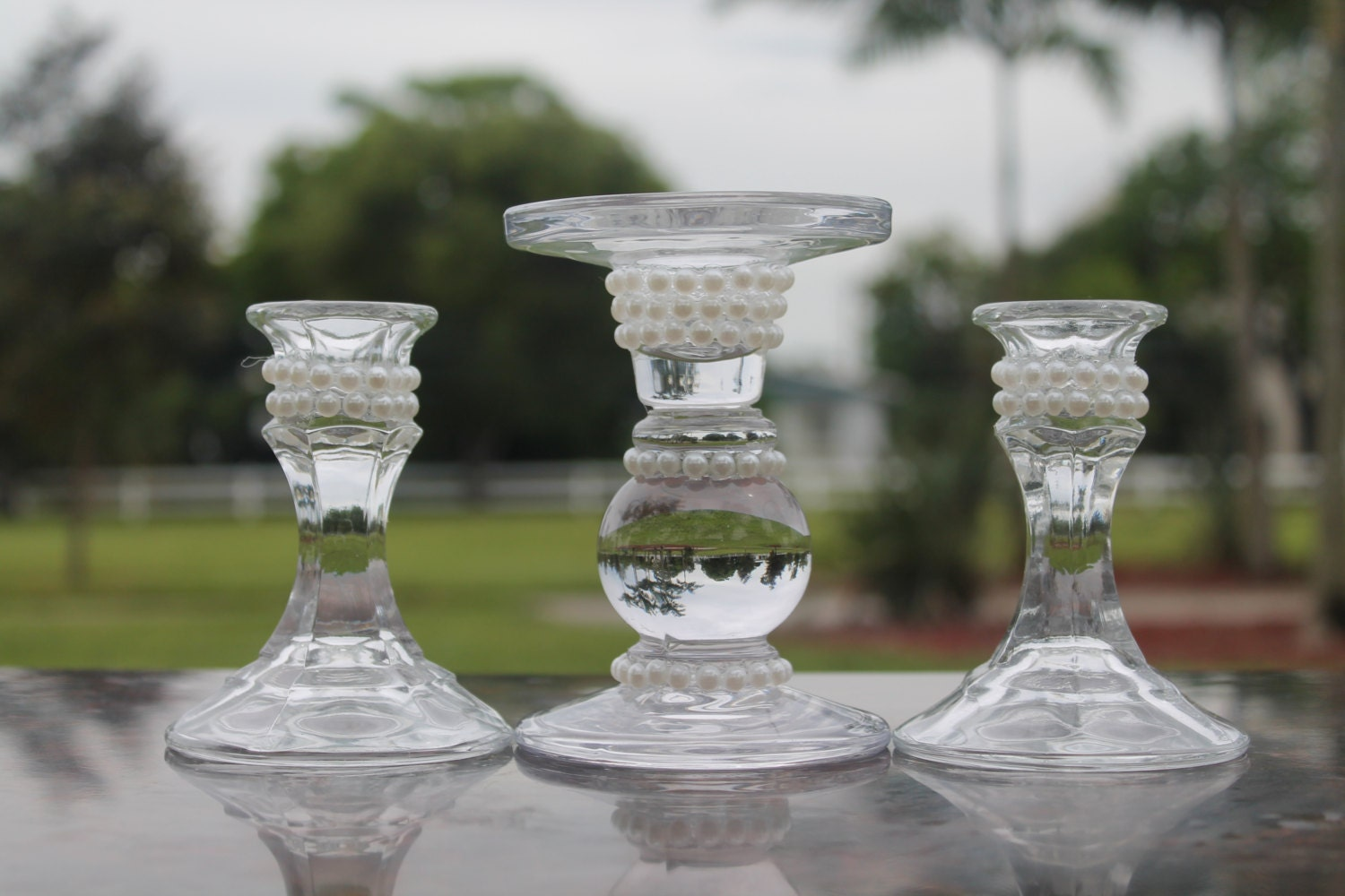 Pearl Unity Candle Holder......Pearl Glass Unity Candle