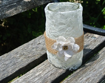 Boho Chic Decor, Bridal Shower Decor,  Burlap & Lace Mason Jar Vase, 6