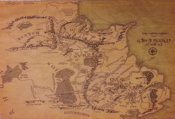 Extra Large Canvas Fabric Lord Of The Rings By