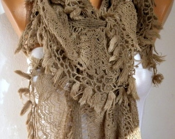 Knitted Lace Scarf  Winter Accessories Knit Shawl Scarf  Cowl Scarf  Long Scarf Ruffle Scarf Gift For Her Women's Fashion Accessories