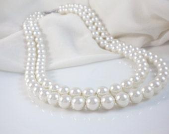 Double strand pearl necklace - Swarovski crystal pearls, bridal, wedding jewelry