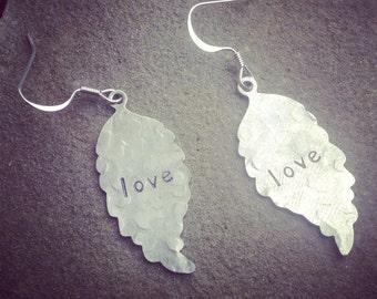 hand stamped dangle leaf earrings