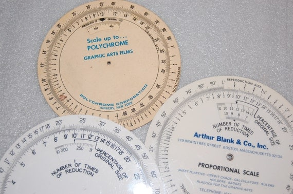 Vintage Round Ruler Proportional Scale Percentage Reduction Graphic Art Drafting Lot of 3 Free Shipping