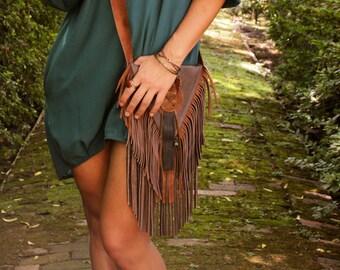 Leather Fringe Bag / Fringe Purse / Brown Leather Bag / Boho Bag / Boho Chic / Fall Trends / Hippie Chic / Sling Bag / Leather Sling Bag