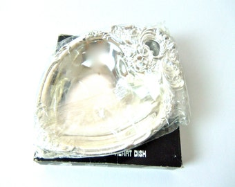 vtg Leonard heart-shaped silver plated dish, candy dish, bowl, tray, new in package with original box, free u.s. shipping