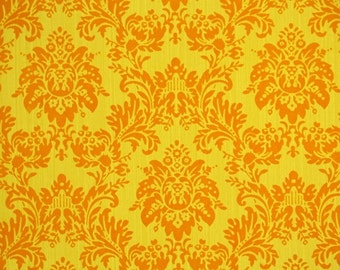 Retro Flock Wallpaper by the Yard 70s Vintage Flock Wallpaper - 1970s Yellow and Orange Flock Damask
