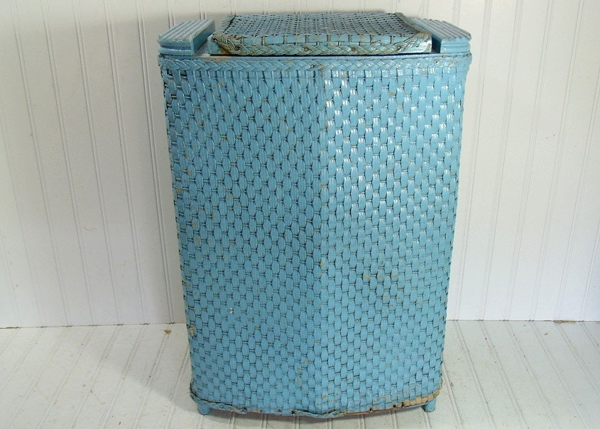 Vintage turquoise wicker wood clothes hamper by divineorders for Turquoise bathroom bin