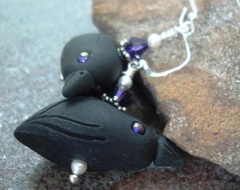 Ravens Earrings for the Baltimore Fans - Sterling Silver and Swarovski - Edgar Allen Poe - Raven Earrings - Ravens Jewelry - Poe jewelry